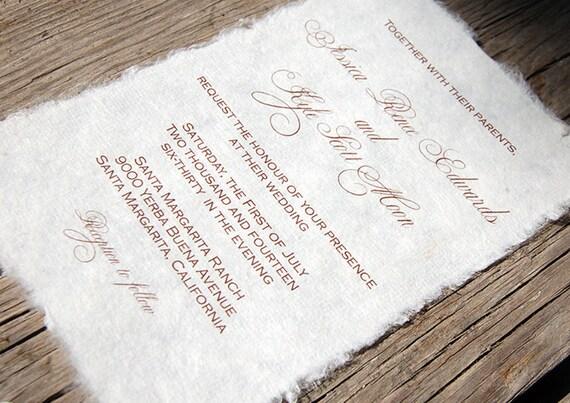 Wedding Invitations Eco Friendly: Mulberry Paper Wedding Invitation Handmade Paper Eco