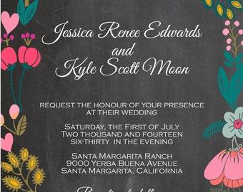 Chalkboard Wedding Invitation with Bright Flowers - Sample