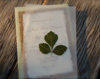 D-I-Y Pressed Oak Leaf Simple Rustic Burlap Wedding Invitation - Rustic Barn Wedding
