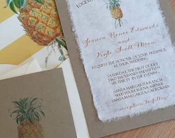 NEW! DIY - Vintage Botanical Pineapple Illustration Wedding Invitation, Paper Bag Cardstock