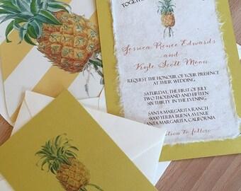 NEW! DIY - Vintage Botanical Pineapple Illustration Wedding Invitation, Curry Cardstock