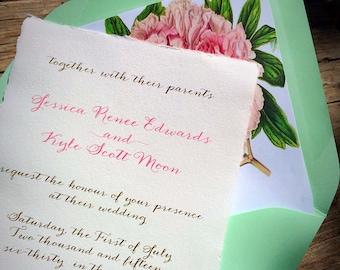 NEW! Vintage Botanical Peonies Hemp Paper Wedding Invitation - Mint Wedding Invitation