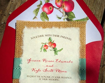 NEW! Vintage Botanical Apples Illustration Wedding Invitation with Burlap