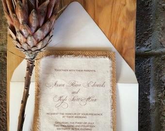 D-I-Y Simple Rustic Burlap Wedding Invitation - Rustic Barn Wedding