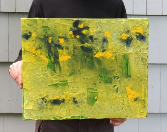 """Textured Painting with Yellow, Blue, and Green, 16"""" x 20""""  x 1.5"""", Original Acrylic Painting on Canvas"""