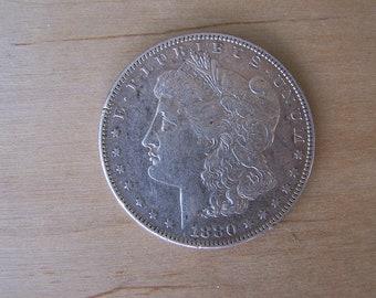 1880 Morgan Dollar, 1880 Silver Dollar minted in New Orleans E. Fine,  ESTATE SILVER Coin