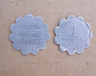 1940's MOBIL Gas Station Oil Tokens, Polzin Mobil Gas Service Station St. Louis good for 1 qt. of MOTOR OIL