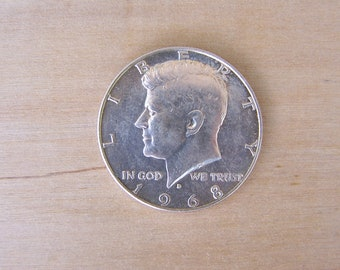 1968 KENNEDY Half Dollar, Vintage US Silver Clad Half Dollar, Birthday Coin, Estate Coin