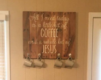Coffee and Jesus pallet sign