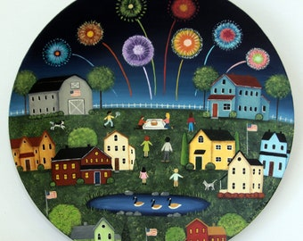 Primitive Folk Art Painting, Fourth of July Americana Wooden Plate, Patriotic Decor, Fireworks, Saltbox House, Country Landscape, Farmhouse