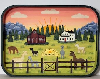 Alpaca Hand Painted Wood Tray, Sunrise Valley Alpaca Ranch, Red Barn, Farmhouse, Mountains, Western Landscape, Pine Trees, Sunset Scene