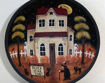 Halloween Folk Art Trick or Treat Bowl, Black Star Inn, Primitive Hand Painted Saltbox House with Witch, Black Cats, Crows MADE TO ORDER