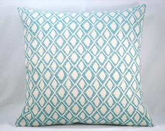 Nate Berkus Aquamarine Linen Pillow Decorative Modern Accent Pillow 18x18 Linen Pillow