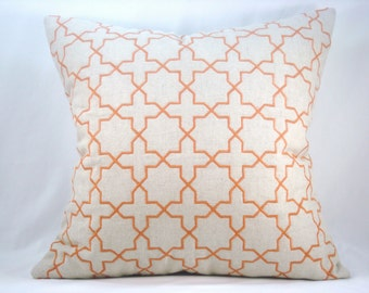 Orange Embroidered Pillow Quilted Pillow Decorative Accent Pillow Toss Pillow 18x18 Pillow