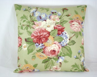 Green Cottage Floral Pillow Accent Pillow 1Cottage Chic 8x18