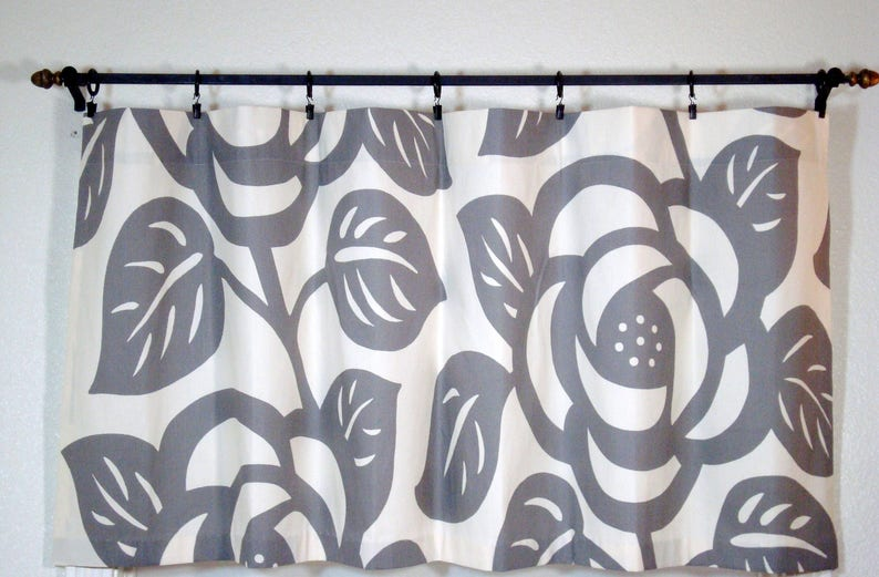 52x22 Grey Cafe Curtains Kitchen Cafe Curtains Grey Cafe Curtain Thomas Paul Grey Curtain Grey Duralee Curtain 1 pan
