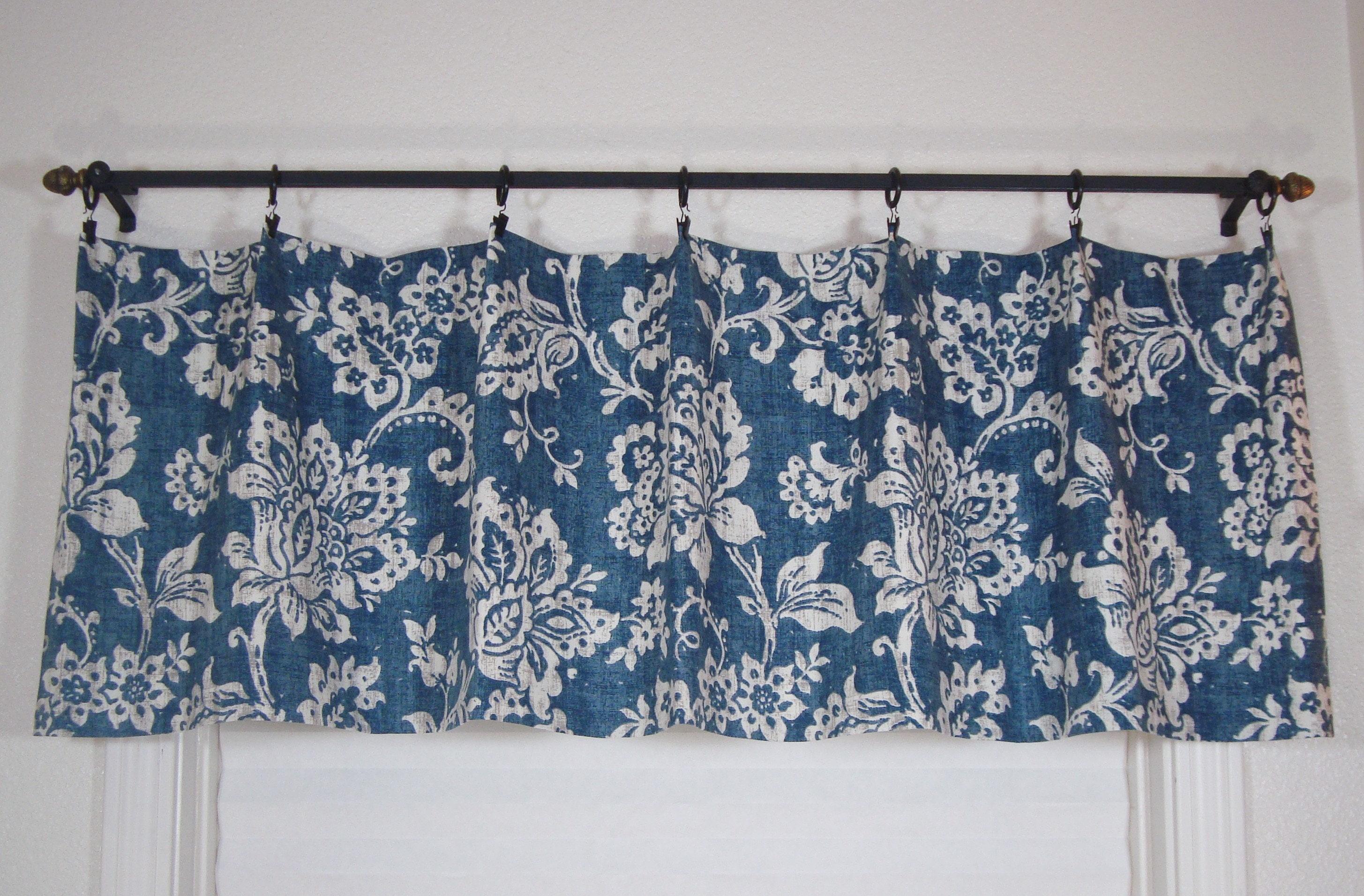 Modern Floral Valance Kitchen Valance Kitchen Curtains Blue | Etsy