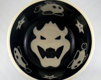 Mario Bowser Bob-omb Stars Mushrooms, Retro Gamer Porcelain Cereal Soup Pasta Salad Bowl USA Pottery Classic Video Game