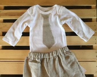 Boys Linen Pants and Tie Set