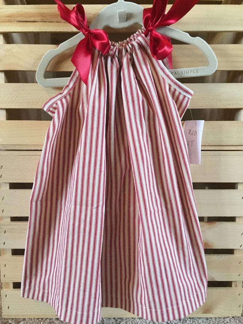 Girls Ticking Stripe Pillowcase Dress  Red or Blue image 0