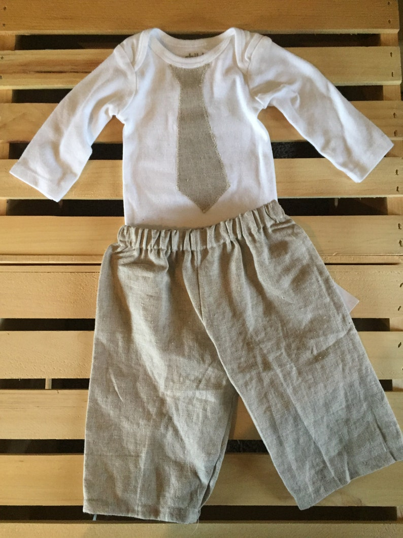Boys Linen Pants and Tie Set image 0