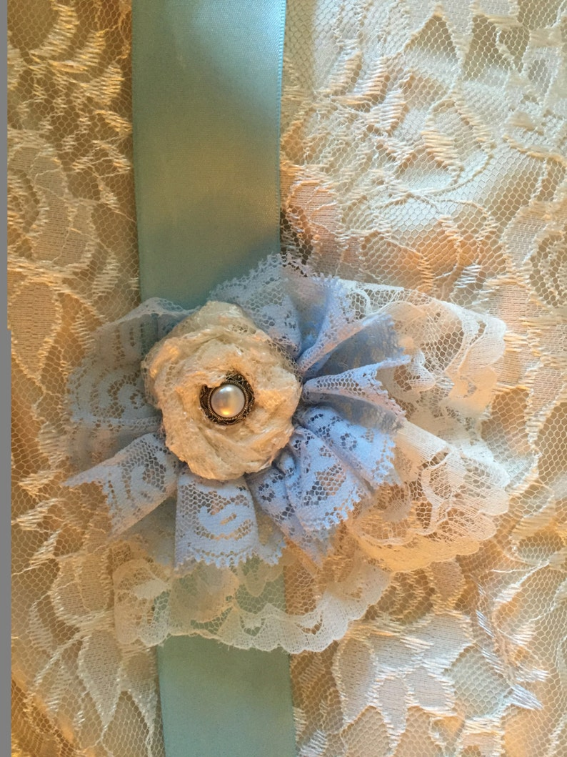 Ivory & Blue Lace sash with crystal  Vintage Accessories image 0