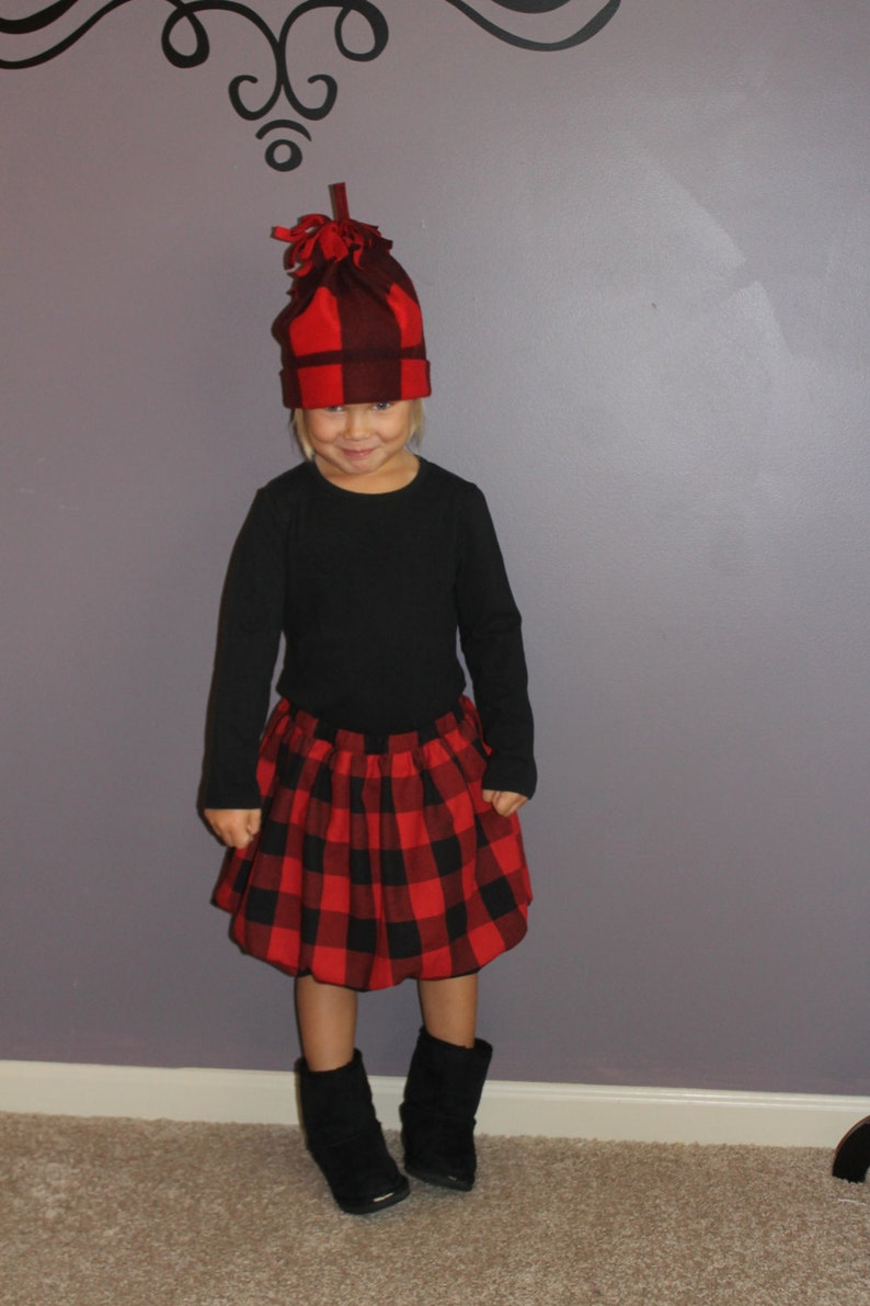 Girls Red and Black Buffalo Check Bubble Skirt image 0