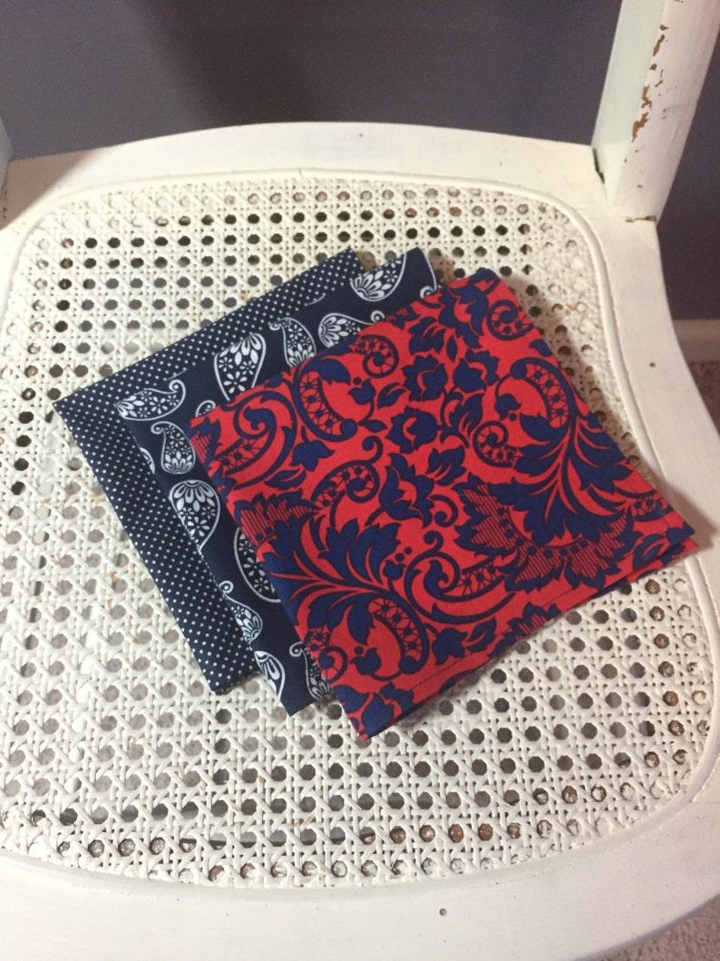 Pocket Square  blues paisley floral dots singles image 0