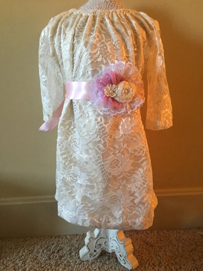 Girls Long Sleeve Lined Ivory lace dress flower girl dress image 0