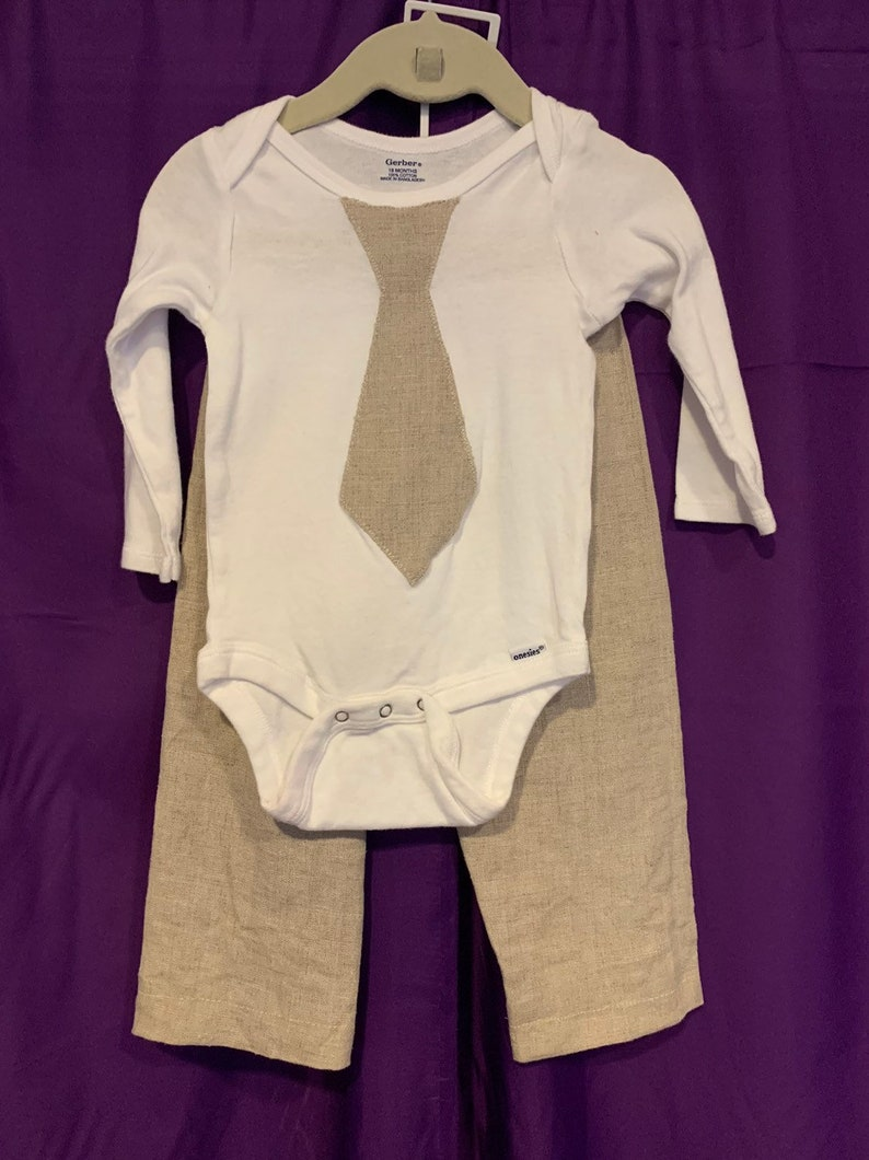 Boys linen shirt and pants set image 0