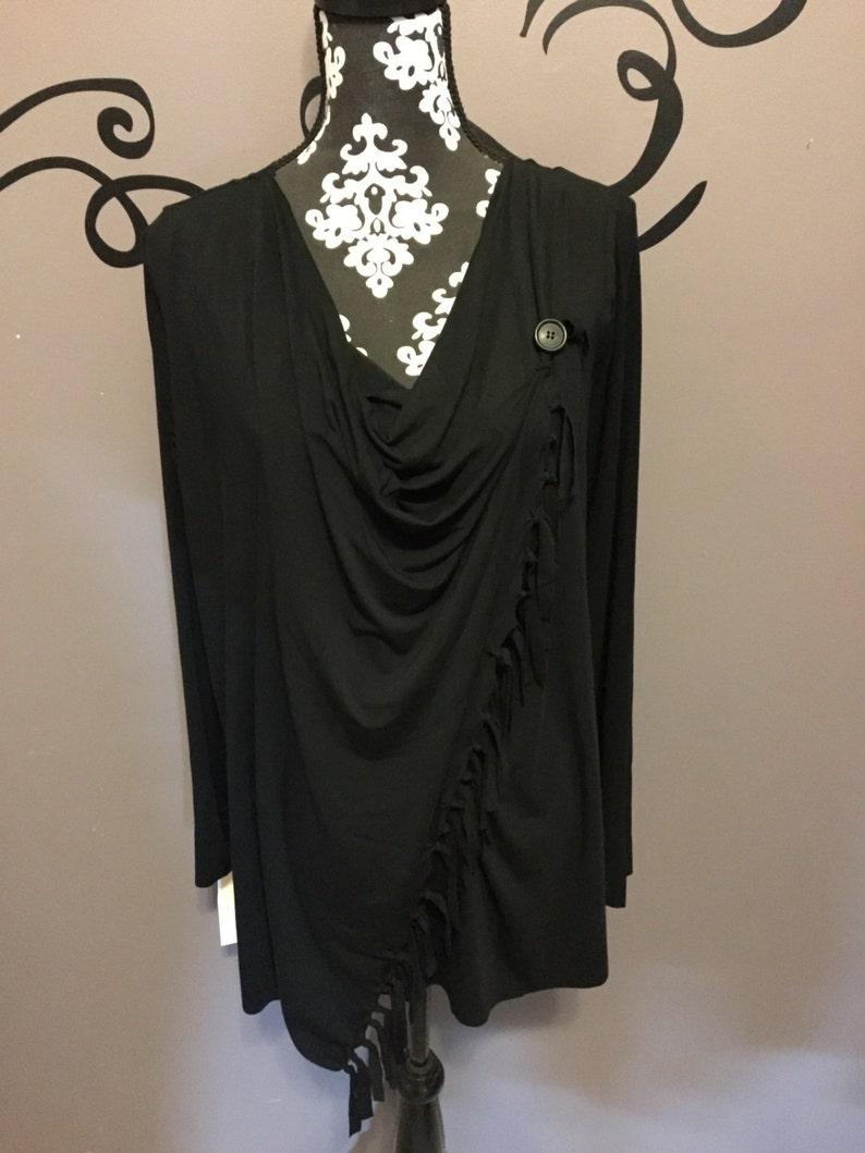 Girls drapey cardigan  made to order fringe shoulder button image 0