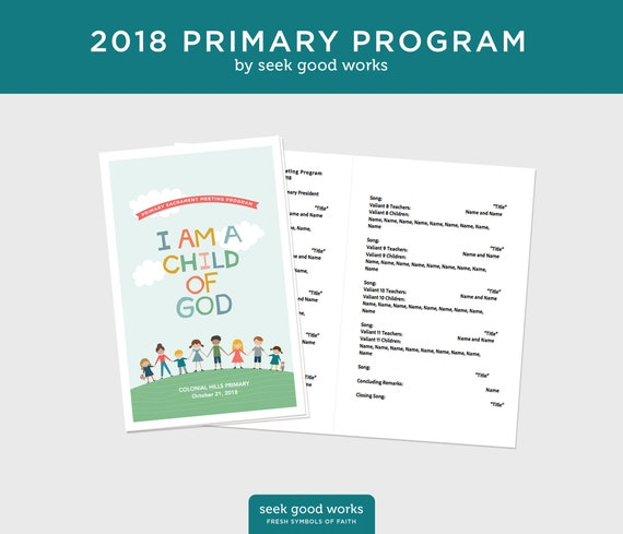 2018 Lds Primary Theme Program Template I Am A Child Of God Etsy