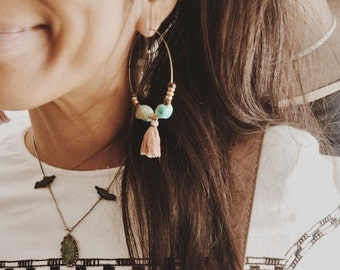 TTE-01, handmade turquoise and gold beads tassle hoop earrings