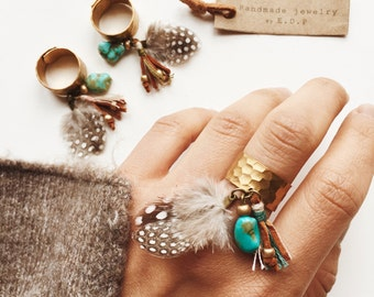 BR-01, Adjustable brass ring with leather tassel,feather and turquoise