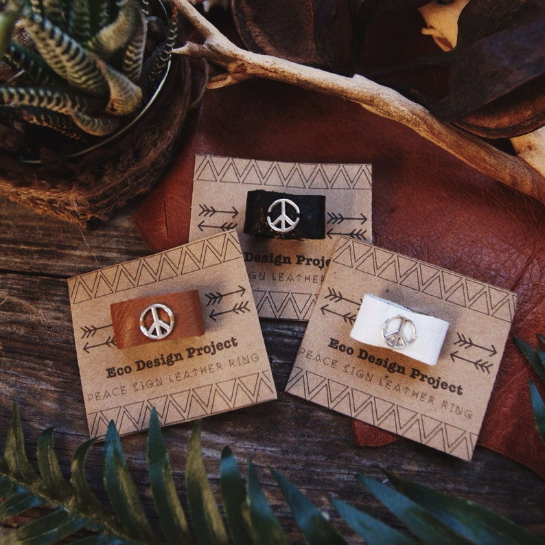PLR-01 Handmade peace sign leather ring