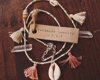 STCN-01,handmade shell,crystal and tassel beaded necklace