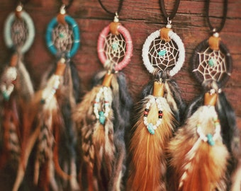 DN-02,FREE U.S SHIPPING, Dreamcatcher necklace with hackle feather charm, recycled yarn,upcycled,native american, color option,hippie,boho