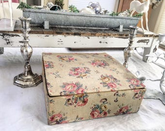 Antique Vintage Large French Fabric Rose Covered Storage Box - Made in France