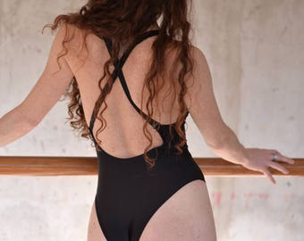 Black bodysuit, high neck bodysuit, cheecky butt, low back, scoop back, backless, high cut leg, one piece, black leotard, dance, yoga