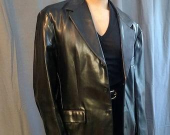 1990s Armani Exchange 2 Piece  Vinyl Suit  / 90s Black Vinyl Suit by Armani Exchange  Pants and Single Breasted Blazer
