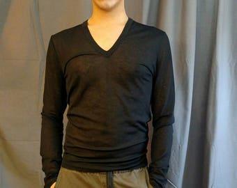 1990s Jean Paul Gaultier Sheer Black Men's T-Shirt / 90s Vintage JPG Black Stretch Sheer T-Shirt Men's Made in Italy