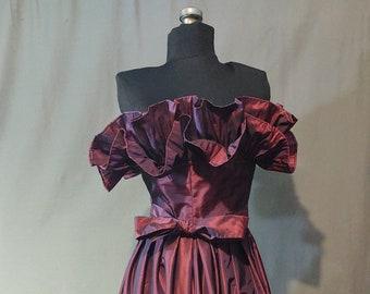 1970s Victor Costa Iridescent Purple Silk Taffeta Gown - Ruffled and Strapless Bodice with Ruffled Hem- Vintage