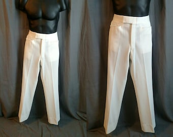 """1970s Izod Wondercord Pants for Men / 70s Double Knit Poly Pants by Izod  Men's Size 34"""" Waist Adjustable to a Smaller Size"""