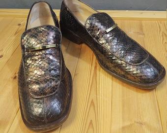 Gucci Vintage Python Skin Loafers Brown iridescent