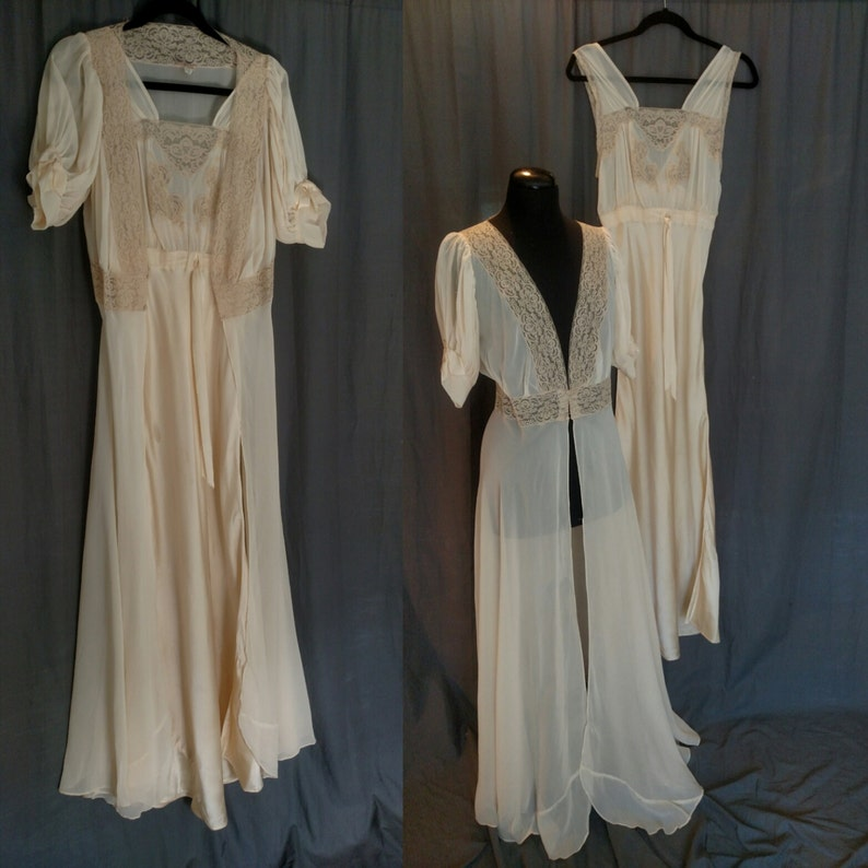 Vintage 1930s Lady Duff Silk and Lace Peignoir set/ 30s image 0