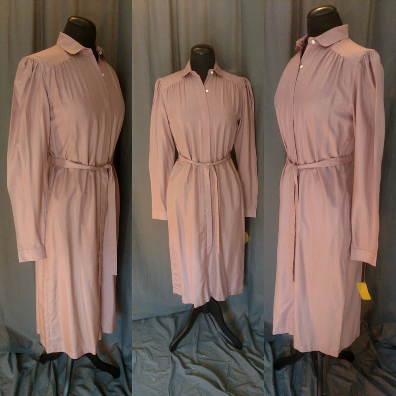 Vintage 1970s Countess Mara Silk Shirt Dress in Mauve / 70s image 0