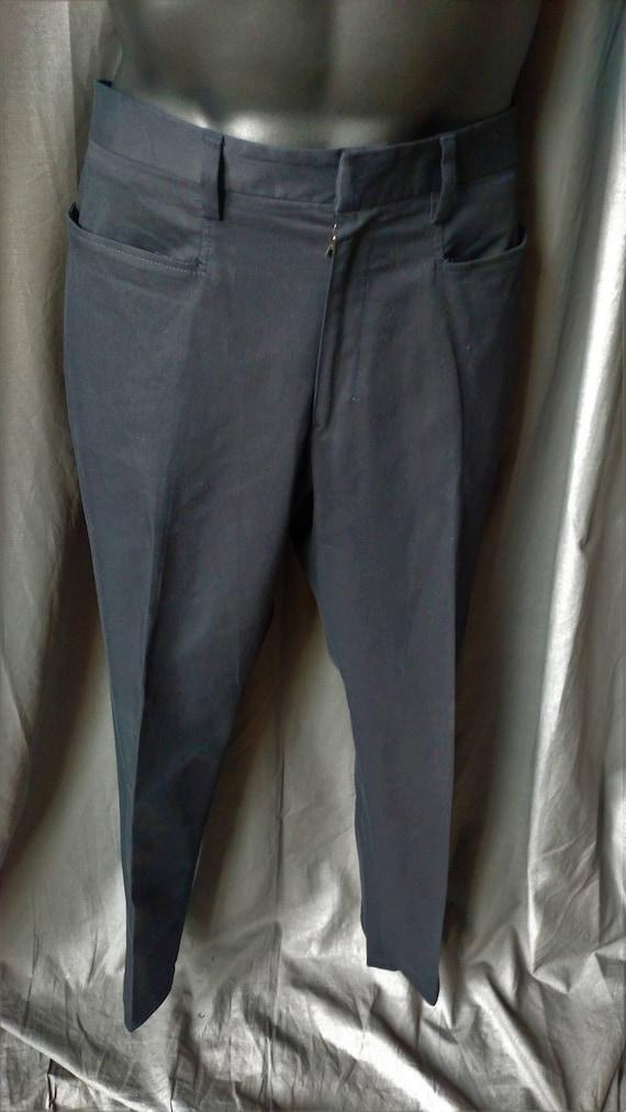 Vintage 1990s Men' s Prada Flat Front Pants in Bl… - image 4
