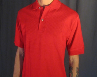 Vintage Mens 1960s Briggs New York, Red Mesh Weave / 60s Mens Airy Knit Shirt / Size Small