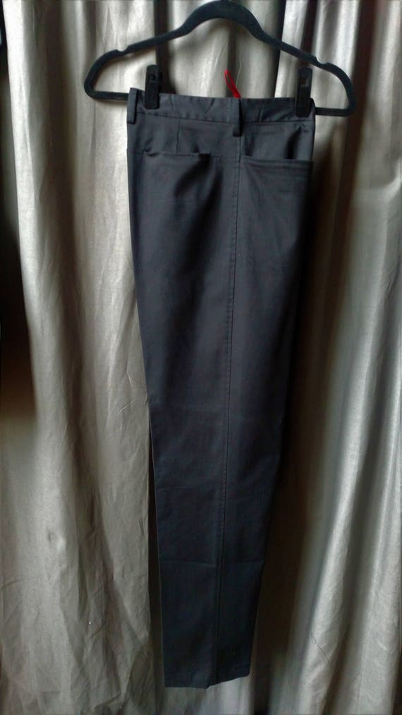 Vintage 1990s Men' s Prada Flat Front Pants in Bl… - image 9