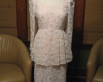 Vintage 1980s Pat Richards Pale Pink Lace and Iridescent Sequin Party Dress / 80s Prom dress by Micheal Maiello